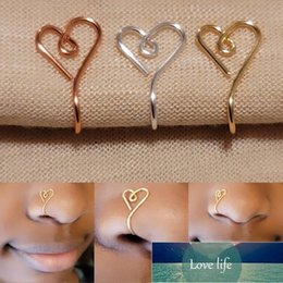 Original Heart Shape Nose Cuff Ring For Women Copper Wire Fake Piercing Gold Silver Color Clip Nose Ring Body Jewelry on Sale