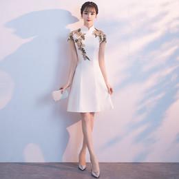 Toptan satış Beyaz Zarif Çin A-Line Elbiseler Lady Vintage Ziyafet Kıyafeti Nefis Nakış Qipao Örgün Parti Elbise NF3B