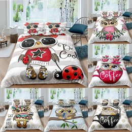 owl bedding set full Canada - Homesky Cute Cartoon Owl Duvet Cover Bedding Set Comforter Cover Quilt Cover Pillowcase 2 3 Pcs Boy Girl Twin Single Double Size C0223