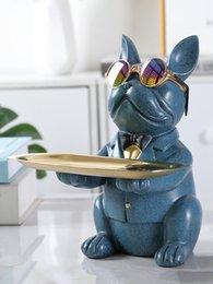 Großhandel Bulldoggefiguren Lagerung Eingangstür Taste Candy Fach Nordic Light Luxus Persönlichkeit Home Decoration