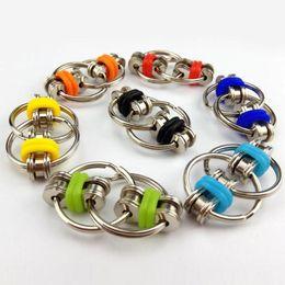 Großhandel Zappeln Fahrradkette Spinner Key Ring Spielzeug Flip Finger Spinner Keychain ADHS Sensorische Autismus Stress Linderung Dekompression Finger Funy Spielzeug H39XE77