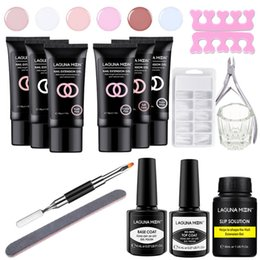 Discount nude uv color gel Lagunamoon 30g Nude Color Poly Extension Nail Gel Set UV LED Soak Off Lacquer Crystal Jelly Quick Nail Extension Top Base