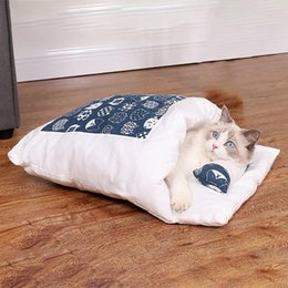 designer small bags Australia - Removable Dog Cat Bed Sleeping Bag Sofas Mat Winter Warm House Small Pet Bed Puppy Kennel Nest Cushion Pet Products