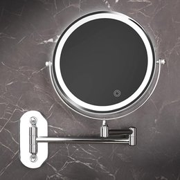 wall mounted lighted makeup mirror UK - Wall Mounted Magnifying Mirror with Led Light 3X 5X Hotel Bathroom vanity makeup Mirrors