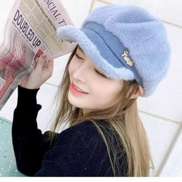 Wholesale thunder ball resale online - Winter Octagonal Fashion Women s Diamond Cap White with Inner Thunder Korean Navy Hat Plush Newspaper Children s