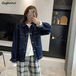 Wholesale simple casual jacket resale online - Basic Jackets Women Button Turn down Collar Outwears Womens Vintage Harajuku BF Casual All Match Denim Coats Simple Chic Ins