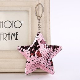 bags fish scale NZ - Holders Fish Scale Sequin Star Keychain Key Ring Bag hang Women kids Fashion Jewelry Gift Drop Ship 340052