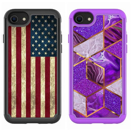 galaxy flag NZ - USA American Flag Marble Geometric Shockproof Case For Iphone 12 Pro Max Mini 8 7 SE 2020 Hard PC TPU Hybrid Layer Defender Armor 2in1 Cover