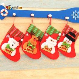 Опт Рождество висит носки милые конфеты подарок сумка снеговика Санта-Клаус олень медведь рождественские чулки для елки декор кулон FY7179