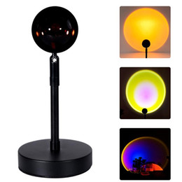rainbow night lights UK - Romantic Sunset Rainbow Projection Lamp Desktop Projector Night Light Elegant L9CF