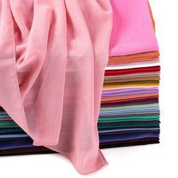 Vente en gros Muslim plaine Bubble Mousseline de soie Hijab Echarpe Femmes Couleur Solide Couleur Solide Longs Châles et enveloppements Tête Écharpes Dames Hijabs