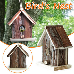 Wholesale Wooden Bird Hanging Cave Cage Parrot Nest Hammock Hanging Cage Warm Winter Birds Bed Toys Garden Interior Decoration