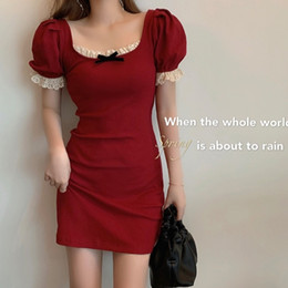 Wholesale tight dresses style for sale - Group buy Square Collar Lace Vintage Red Color Dress Female Summer Tight Sexy Bag Hip Dress French Dress New Style