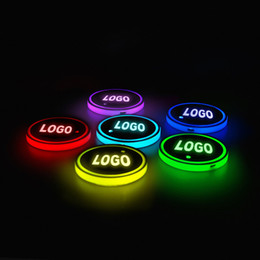 Wholesale 2pcs Led Car Cup Holder logo Light For Toyota Nissan Ford BMW Mercedes Audi Jeep USB Charging luminous coaster Accessories