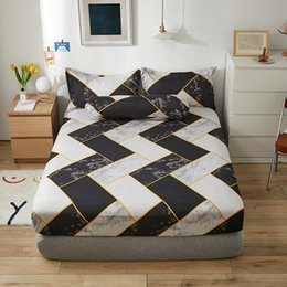 Sheets & Sets Black White Clouds Geometry Pattern Fashion Fitted Sheet Bed Case Polyester Mattress Cover Twin Full Queen King Size on Sale