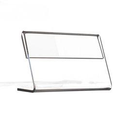 Toptan satış Reklam Ekranı Temizle Akrilik Plastik Işareti Kağıt Etiket Kartı Fiyat Etiketi Tutucu L Şekilli Standı Yatay Masada Çeşitli Orta Boyutu T1.2mm 50 adet