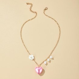 hot pink choker necklace 2021 - Hot Fashion Long Pink hearts Pearl Necklaces Diamond-studded multi-layered clavicular chain Women Choker Love Hearts Jewelry A3230