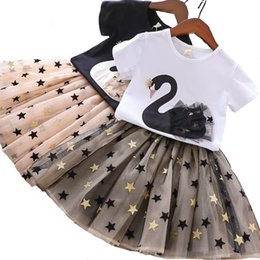 Wholesale birthday shirt for children resale online - Girls Set Swan T shirt Star Mesh Pieces Pack Colors Summer Casual Wear Kids Birthday Party Present for Years Children