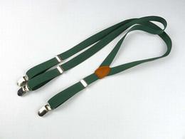 Metal Clip-on Suspenders Elastic Y-Shape Adjustable Braces Solids with Leather Men Women Green fashion Suspender on Sale