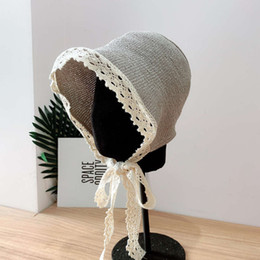 ingrosso crochet gancio s-Net Red Fa Handmade Fine Papyrus Hook Gancio Lori Cappello Bambini Estate Sole Protezione del sole Cappello Seaside Travel Sun Protection Crochet Hat Girl
