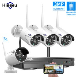 Hiseeu 8CH Wireless CCTV System 1536P 1080P NVR wifi Outdoor 3MP AI IP Camera Security Video Surveillance LCD monitor Kit