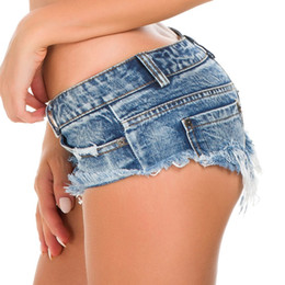 club jeans for women NZ - Mini Sexy Club Femme Denim Shorts Female 2019 Summer Thong for Women Low Waist Bermudas Micro Short Jeans Feminino
