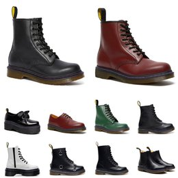 men women Martin boots Winter Shoes Ankle Half Black white Bordeaux Wine red Green Pumpkin Orange mens fashion platform boot size 36-44