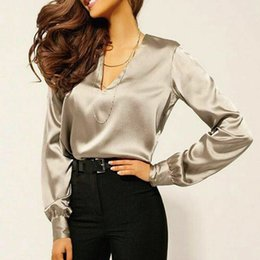 Женщины Мода V-образным вырезом с длинным рукавом Silk Satin Blouse рубашка офисные дамские топы тройники на Распродаже