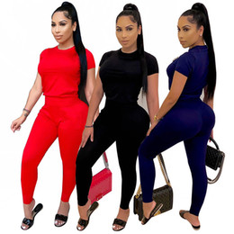 running hoodies for women UK - Womens short sleeve Sportswear two piece set woman jogging sport suit for ladies casual women tracksuits fashion sexy hoodie pants kw0651