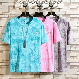 Wholesale youth sports t shirts for sale - Group buy Summer men s new round neck large casual short sleeve tie dyed T shirt youth couple loose sports base shirt