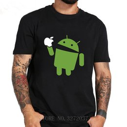 Wholesale android shirts resale online - 2019 Latest Popularity Android Eating Design t Shirts Short Sleeve Clothing Cotton neck Men T shirts