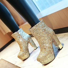 Discount silver wedding heels size 12 34-43 women boots high heels shoes Winter Night party Women's Boots Sequined platform Super High Heel Wedding size 12 Y5Dr#