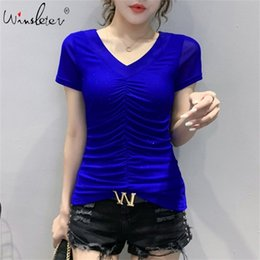 women shiny shirt Australia - Summer European Clothes T-shirt Fashion Shiny Diamonds Drape Women Tops Ropa Mujer Short Sleeve Sexy Back Tees New T06628 210315