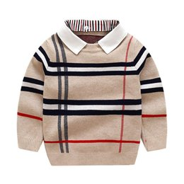Wholesale 2021 Autumn Winter Boys Sweater Knitted Striped Sweater Toddler Kids Long Sleeve Pullover Children Fashion Sweaters Clothes