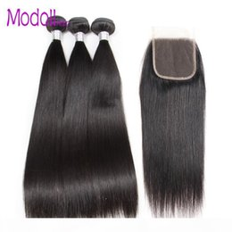 Straight Human Hair Bundles With Closure Brazilian Virgin Hair Weave Bundles Natural Color Bundles With Closure Remy Hair Extenssion