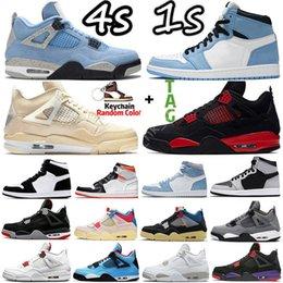 4 4S zeil University Blue 1 1s Mens Basketbal Schoenen Sneakers Hyper Royal Black Cat Silver Teen Bred Electro Orange Dark Mocha Fire Red Men Dames Sport Trainers US 5-13