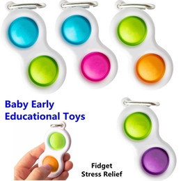 Wholesale 60PCS DHL Simple Dimple Keychain Key Ring Fidget Sensory Toys Push Pop Bubble Squeeze Silicone Bubbles Stree Relief Kids Finger Toy H25P7KR