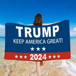DHL Shipting Ванные полотенца Дональд Трамп 2024 Хранение Америки Великолепное квадратное пляжное полотенце Двусторонняя бархатная быстрая сушильная односторонняя печатная платка на Распродаже