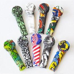 venda por atacado 3,5 polegada colher de silicone mão saco de tubulação de impressão de silicone mini tubos de água Dabble para imprimiças de ervas secas colorido