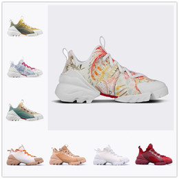 ingrosso d b-Dior D connect Series printing shoes Mnes Donne Scarpe casual in Neoprene Grosgrain Ribbon D Connect Sneakers Comfort Signore Wrap Around Suola in gomma Casual Abito da passeggio