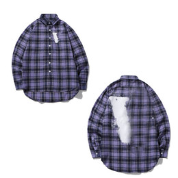 Wholesale shirt flannel for sale - Group buy New Men Shirts Women Long Sleeve High Quality Casual Shirts Letter Printed Hip Hop Style Clothes With Label Box