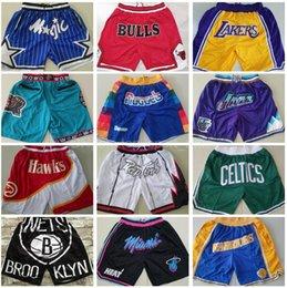 Erkekler Takım Basketbol Şort Sadece Don Kısa Kalça Pop Spor Giyim Pantolon Cep Fermuar Sweatpants Mavi Beyaz Siyah Kırmızı Mor Dikişli Kaliteli Adam Boyut S-XXXL