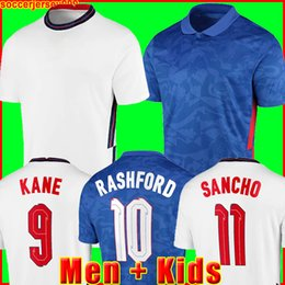 Großhandel ENGLAND Fußball Trikot Euro Cup 2020 KANE STERLING VARDY RASHFORD DELE 20 21 Nationalmannschaften Fußballtrikots Männer + Kinder Kit Uniformen 999