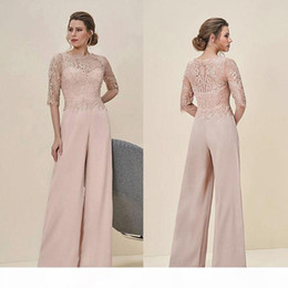 lace mothers wedding pant suit NZ - Jumpsuits Lace Mother Of The Bride Pant Suits Bateau Neck Half Sleeves Wedding Guest Dress Chiffon Plus Size Mothers Groom Dresses