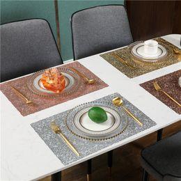Wholesale American Light Luxury Insulation Pad PVC Life 2 Pieces Set Kitchen Table Mats PVC Napkin Art Decorative Steak Plate Mat