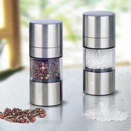 Máquina Pimienta Sal Spice Shaker Portátil Retendible Acero inoxidable Sol Pepper Pepper Mill Spice Sauce Mollinder Para Cocina Hogar FWF9334 en venta