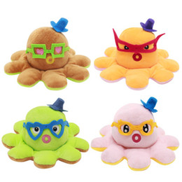 Wholesale Dolls Celebrity Cute Turning Mangosteen Figurines Double-Sided Flipping Plush octopus Fruit Doll
