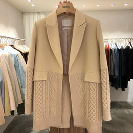 Wholesale korean suit female resale online - Loose Wild Fashionable Casual Thin No Button Stitching Knitting Design Mid length Suit Jacket Female Korean Style