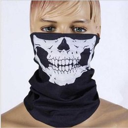 skeleton mask half face UK - 50pcs pcak Wholesale Cycling Bike Skull Skeleton Headwear Hat Neck Ghost Scarf Outdoor Motorcycle Bicycle Half Face Mask Cap1