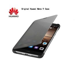 huawei mate flip cover fall fenster großhandel-Original Huawei Mate Case Luxury Smart Wege Flip Leder Case Cover für Huawei Mate Volle Ansicht Smart Flip Casi